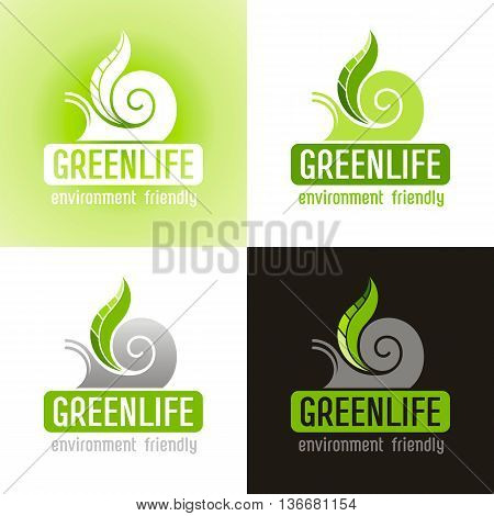 Ecological symbol logo icon set with snail shell and green plant leaf. Ecology nature concept. For gardening, environment, tourism topics. Flat siluette vector icon on white, green, black background