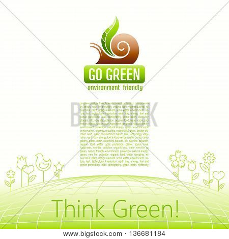 Ecological symbol logo with snail shell and green plant leaf. Ecology and nature concept. For gardening, environment, tourism topics. Flat siluette vector icon on white background