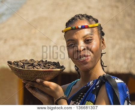 Gauteng, South Africa -  July 04, 2015:  Smiling young woman Bantu nation serving eatable caterpillars for dinner. Girl Ndebele showing basket of caterpillars in his palm in  Lesedi Cultural Village (unique center of African culture). Delicious unusual fo