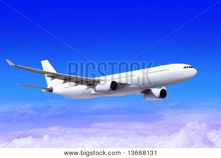 white passenger plane in the blue sky landing away