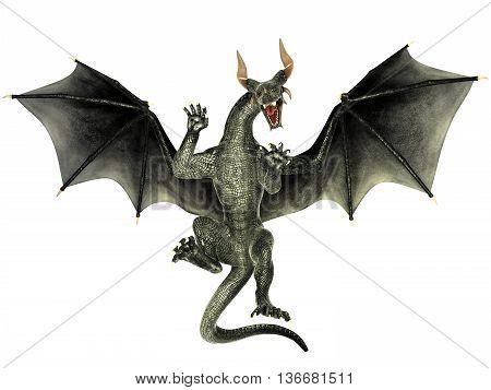 Elegant dragon isolated on white background 3d illustration