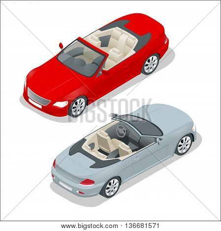 Cabriolet car isometric vector illustration. Flat 3d convertible image. Transport for summer travel. Sports car vehicle