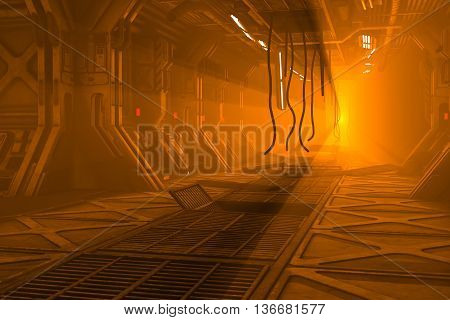 Sci-Fi 3d illustration of damaged flaming space station corridor.
