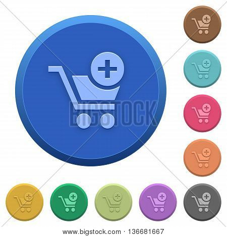 Set of round color embossed add to cart buttons