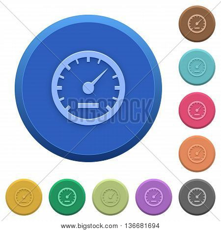 Set of round color embossed speedometer buttons