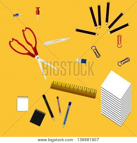 Supplis offices. ssissors and ruler, Paper the, Eraser clips Notepad