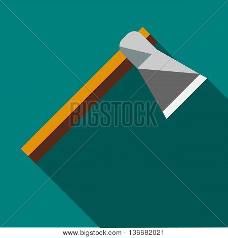 Wooden axe icon in flat style on a turquoise background