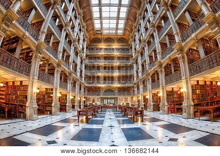 Baltimore, Usa - June 23, 2016 The Interior Of The Peabody Library