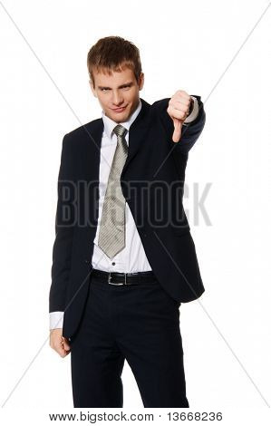 Businessman showing his thumb down