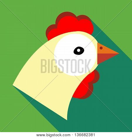 Hen icon in flat style on a green background