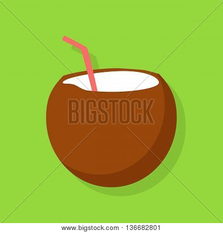 Fresh drinking coconut cocktail with a straw isolated on green background. Vector illustration