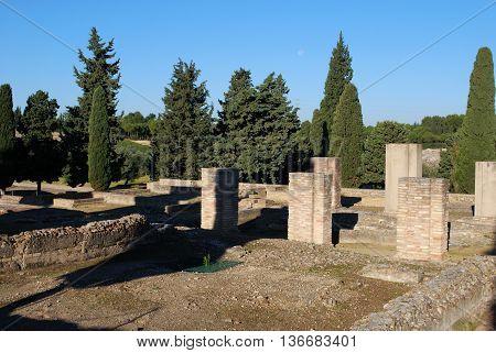 SEVILLE, SPAIN - NOVEMBER 15, 2008 - Ruins of the Exedra building Italica Seville Seville Province Andalusia Spain Western Europe, November 15, 2008.