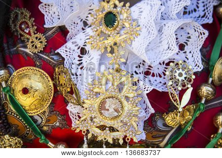 QUARTU S.E., ITALY - May 12, 2012: Open Monuments 2012 - Sardinia - Sardinian and special jewels of a traditional Sardinian costume
