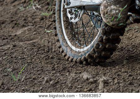 Rear wheel motocross bike with blurred background