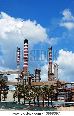 Petrochemical oil refinery Puente Mayorga Cadiz Province Andalusia Spain Western Europe.