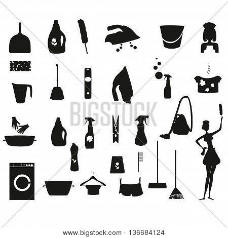Laundry icon. Washing icon vector set. Housework icons vector set.  Vector icons for household, cleaning detergents