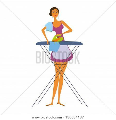 Housewife ironing illustration isolated on white background. Woman ironing.