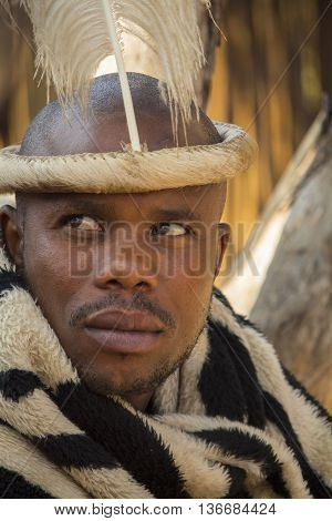 Gauteng, South Africa -  July 04, 2015:  Portrait of unidentified African man Bantu nation with ethnic accessories and hairstyle in  Lesedi Cultural Village (unique center of African culture) . Tribal leader. Pedi people.