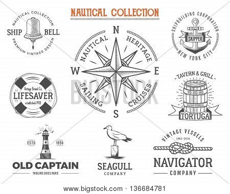 Vintage nautical stamps set. Old ship retro style. Sailing labels, emblems illustration. Nautical graphic symbols - rope, wind rose, anchor. Vector nautical sketch design. Adventure lifestyle.