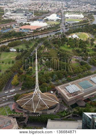 Melbourne - February 23 2016: Tower Victorian Arts Centre Yarra River and the Botanical Gardens view from the tower Eureka February 23 2015 Melbourne Australia