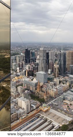 Melbourne - February 23 2016: view of the city and the railway station view from the tower Eureka February 23 2015 Melbourne Australia
