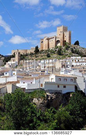 View of the castle (castillo de los Fajardo) and town Velez Blanco Almeria Province Andalucia Spain Western Europe.