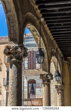 Architectural Detail Of Mayor Square Of Ciudad Rodrigo, Salamanca. Spain.