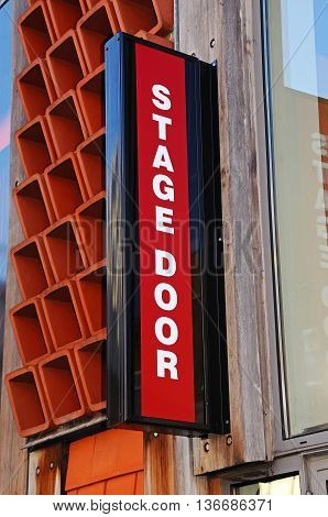 Stage door sign on the Garrick Theatre along Castle Dyke Lichfield Staffordshire England UK Western Europe.