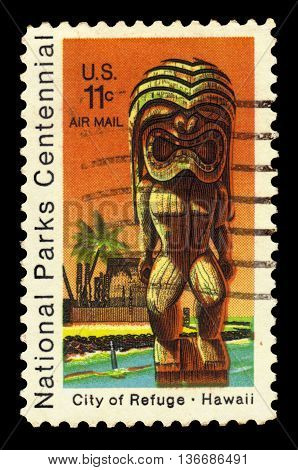 USA - CIRCA 1972: a stamp printed in the United States of America shows Kii Statue and Temple, City of Refuge at Honaunau, Hawaii, circa 1972