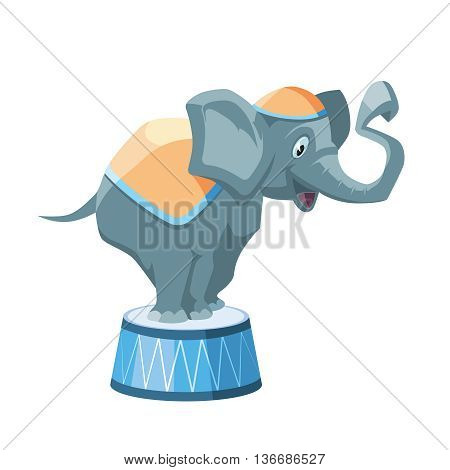 Vector illustration of Circus elephant stand on small round support. Picture isolate on white background