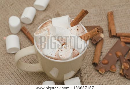 Cappuccino cup with marshmellow and cinnamon sticks