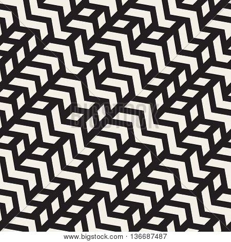 Vector Seamless Geometric Zigzag Diagonal Irregular Lines Pattern