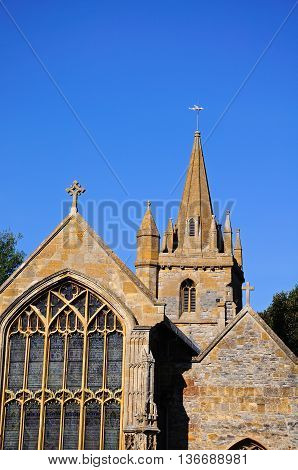 St Lawrence Church window and spire Evesham Worcestershire England UK Western Europe.