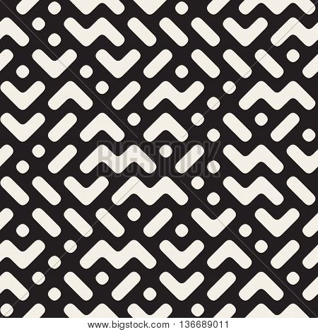 Vector Seamless Black And White Rounded Zigzag Geometric Irregular Pattern