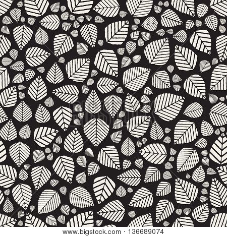Vector Seamless Black And White Hand Drawn Leaves Jumble Pattern