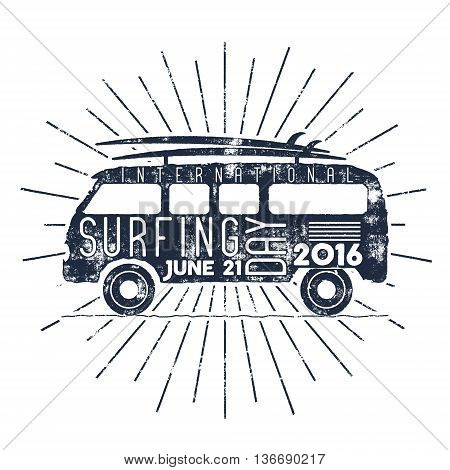 Surfing day typography label. Vector Vacation typographic emblem with star bursts. Surfer party retro badge with surf symbols - retro rv and surfboards. For web, tee design, t-shirt printing.