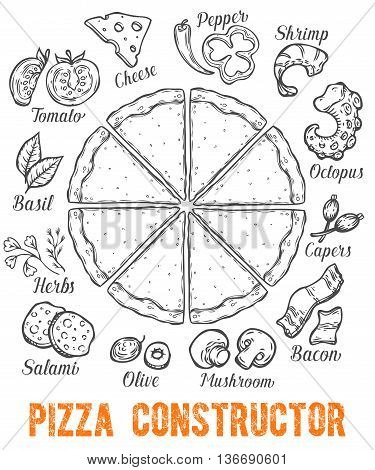 Pizza Italian Food Hand Drawn Sketch Vector Illustration. Food Pizza Ingredients Set: Salami, Pepper