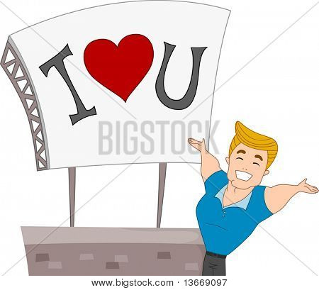 Illustration of a Pinup Guy Presenting a Billboard with a Romantic Message