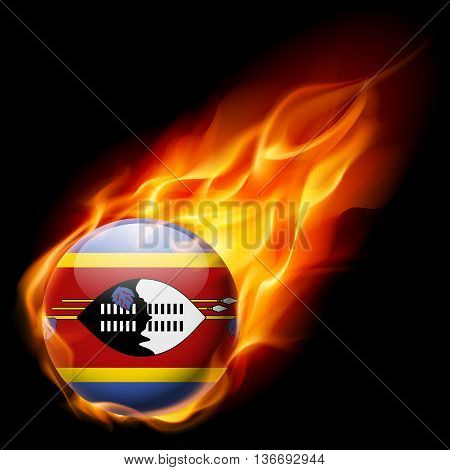 Flag of Swaziland as round glossy icon burning in flame