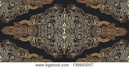 Ornament black white pattern with mandala. Geometric circle element made in vector.  Tribal, Boho, Bohemian style. kaleidoscope,  medallion, yoga, india, arabic
