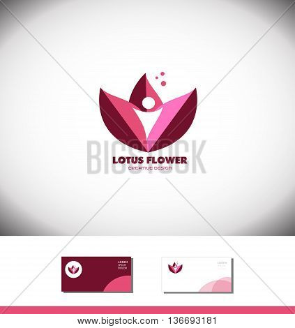 Vector company logo icon element template lotus flower water lilly bud pink purple spa beauty relaxation