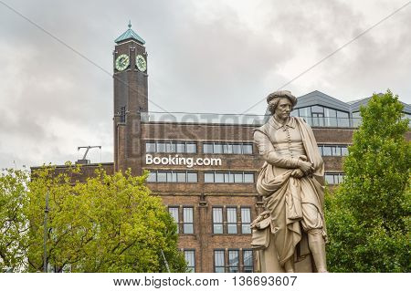 Amsterdam - September 17, 2015: Rembrant Monument In Front Of Booking.com Headquaters In Rembrant Pa