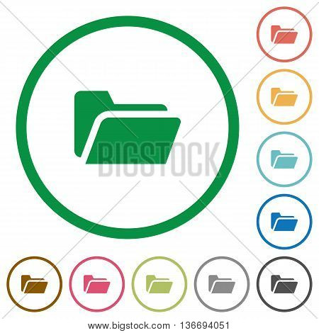 Set of Folder open color round outlined flat icons on white background