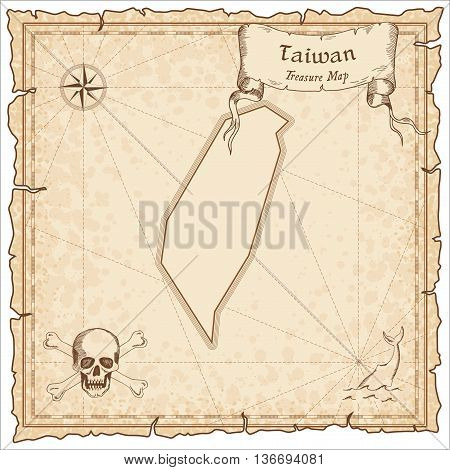 Taiwan, Republic Of China Old Pirate Map. Sepia Engraved Template Of Treasure Map. Stylized Pirate M