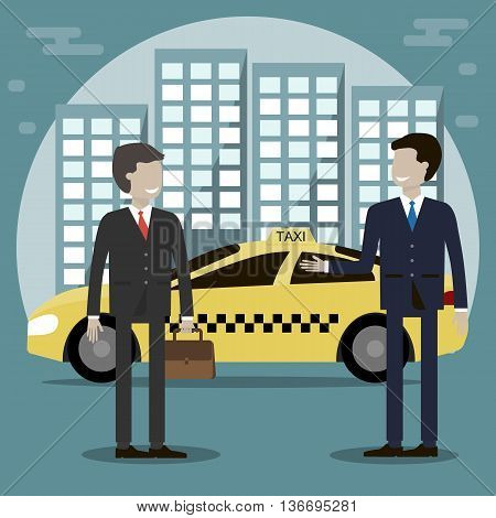 The taxi driver offers a man passenger services. Yellow taxi cab in the background of the city. Vector illustration flat design