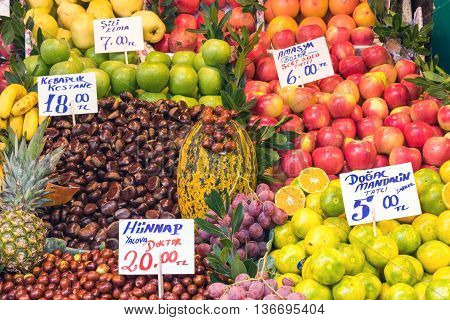 Fresh fruits for sale at a market in Istanbul, Turkey