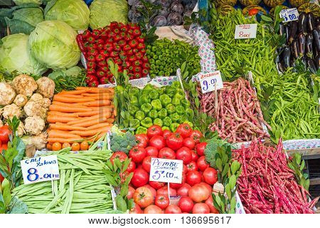 Piles of vegetables for sale at a market in Istanbul, Turkey