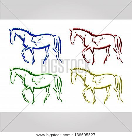 The symbolic figure of the horse. Set of vector illustrations print