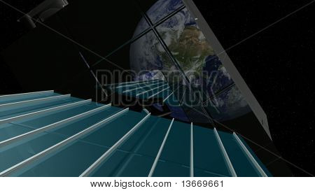 Satellite view in space