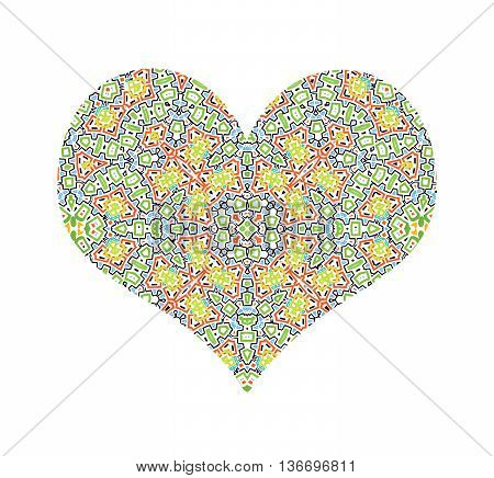Vector abstract color pattern heart on white background